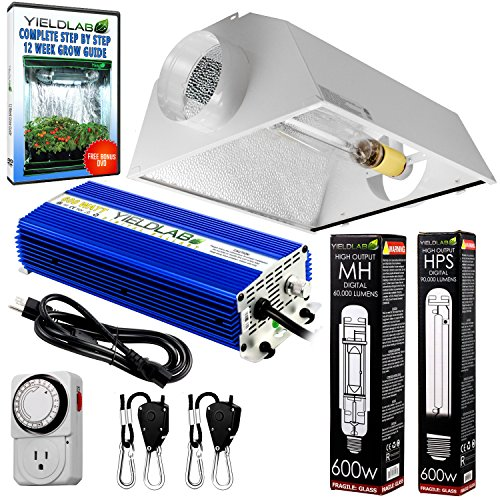 Yield Lab Horticulture 600w HPS MH Grow Light Cool Hood Reflector Kit Easy Setup Full Spectrum System For Indoor Plants And Hydroponics - Free Timer and 12 Week Grow Guide DVD