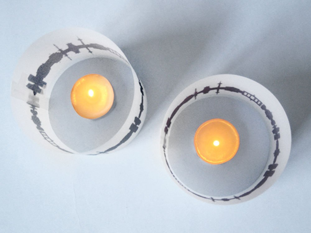 individuell personalisiert Lissabon Tischlicht 2er Set Lichth/ülle mit eigenem Text Namen Botschaft bedruckt