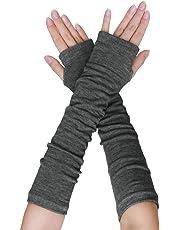 uxcell Women Winter Stripes Heart Print Fingerless Thumbhole Elastic Long Knitted Gloves