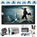 """Car Rear View Camera + Ewalite 7"""" inch Double Din Touchscreen In Dash Stereo Car Receiver Audio Video Player Bluetooth FM Radio Mp3 MP5 / TF / USB / AUX / Steering wheel controls + Remote Control"""