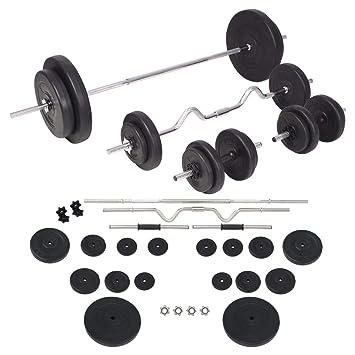 FZYHFA Conjunto de Pesas de Disco de Cemento + Barras de Acero diámetro de Disco (15 kg) 40 cm y 90 kg Negro Kit Halteres: Amazon.es: Deportes y aire libre