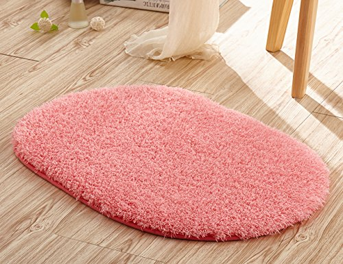 Singtryee Soft Oval Area Rugs Arctic Velvet Round Beside Carpet Shaggy Floor Mat (20