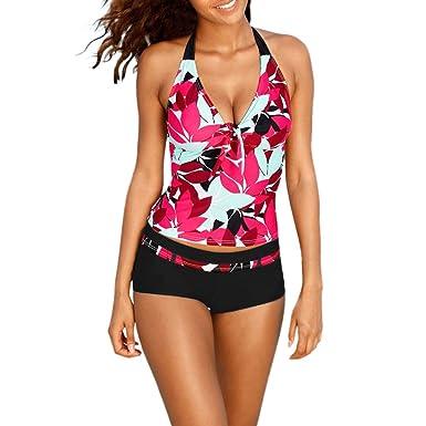 d0eacdc058 Maillot de Bain Grande Taille Tankini Femmes, Sunenjoy Bikini 2 Pièces  Bresilien Maillot de Bain Dos Nu Halter Push up Rembourré Haut Tops + Short  Court: ...