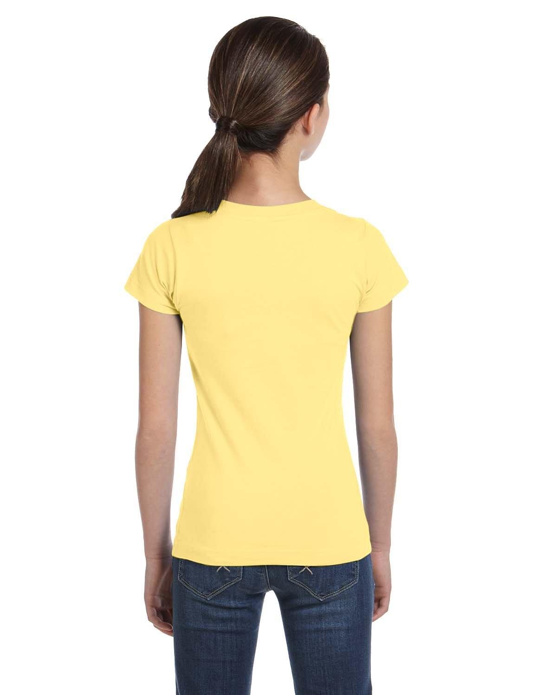 LAT Sportswear Girl's Fine Jersey Longer-Length T-Shirt, Butter, X-Large