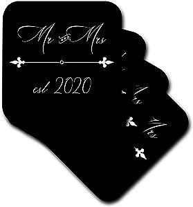 3dRose White cursive Mr. and Mrs. Est. 2020 and fleur de lis divider on. - Coasters (cst_337491_1)