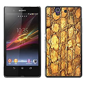 Qstar Arte & diseño plástico duro Fundas Cover Cubre Hard Case Cover para Sony Xperia Z / L36H / C6602 / C6603 / C6606 / C6616 ( Gold Pattern Texture Material Rocks Stone)