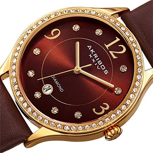 (Akribos XXIV Women's Quartz Diamond & Swarovski Crystal Gold-Tone and Brown Leather Strap Watch - AK1011BR )