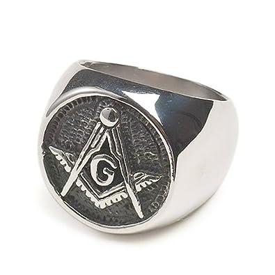Round Chiseled Stainless Steel Freemason Ring  Masonic Rings with Black  Face  Freemason's Jewelry  Free Masonry Member
