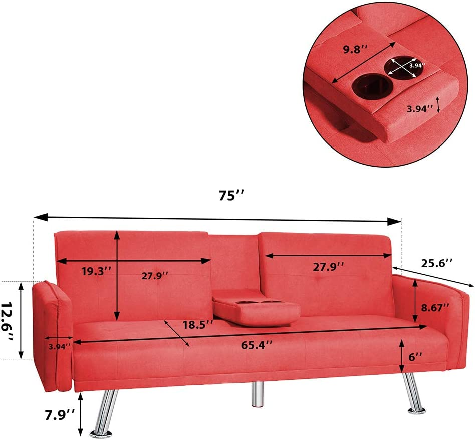 DKLGG Convertible Futon Bed Modern Velvet Recliner Couch with Armrest Cup Holders Metal Legs for Living Room (Red) Sofas