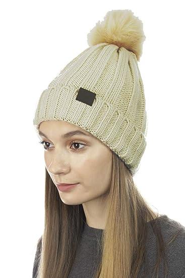 e711234d7fa Cloie Trendy Chunky Soft Stretch Cable Knit Beanie Skully Hat with Warm  Fleece Lining   Pom Pom (Beige