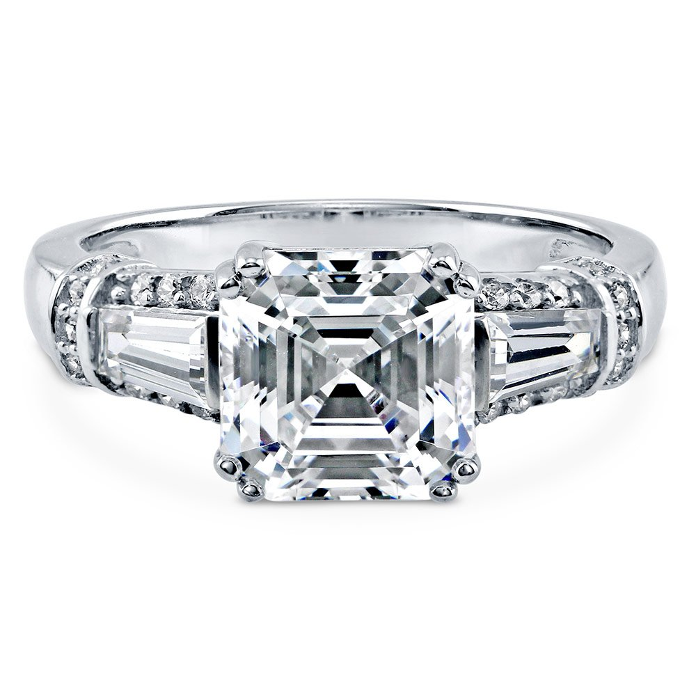 BERRICLE Rhodium Plated Silver Asscher Cut Cubic Zirconia CZ 3-Stone Engagement Ring 3.4 CTW Size 7 by BERRICLE (Image #1)