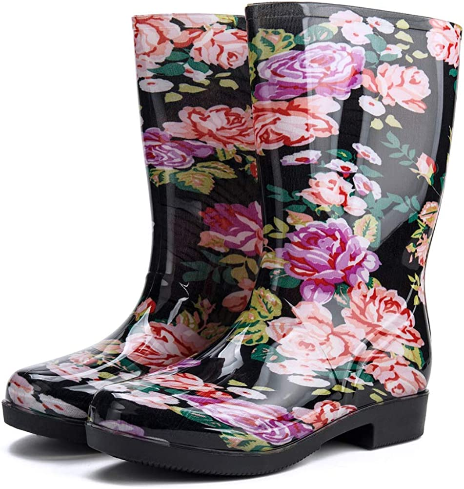 Rain Boots for Women Floral Print Mid Calf Slip on Water Shoes Outdoor Garden Waterproof Work Booties