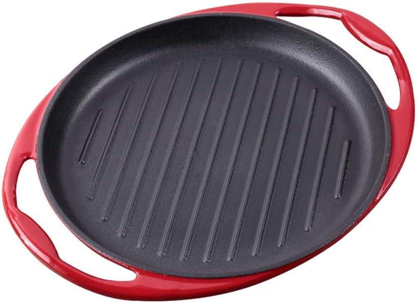 Reja de Hierro Fundido Redonda Cacerola de la Parrilla para Carne con Mango Acabado ayudante de Esmalte para Asar la Carne y el Tocino Adecuado para Todo Tipo de cocinas, la inducción (