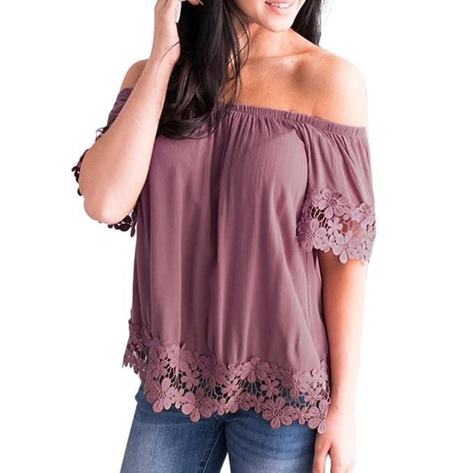 Yying Manga Corta Blusa Para Mujer - Elegante Color Sólido Patchwork de Encaje Camisas Moda Fuera del Hombro Camiseta Camisas Para Verano Tallas Grandes: ...