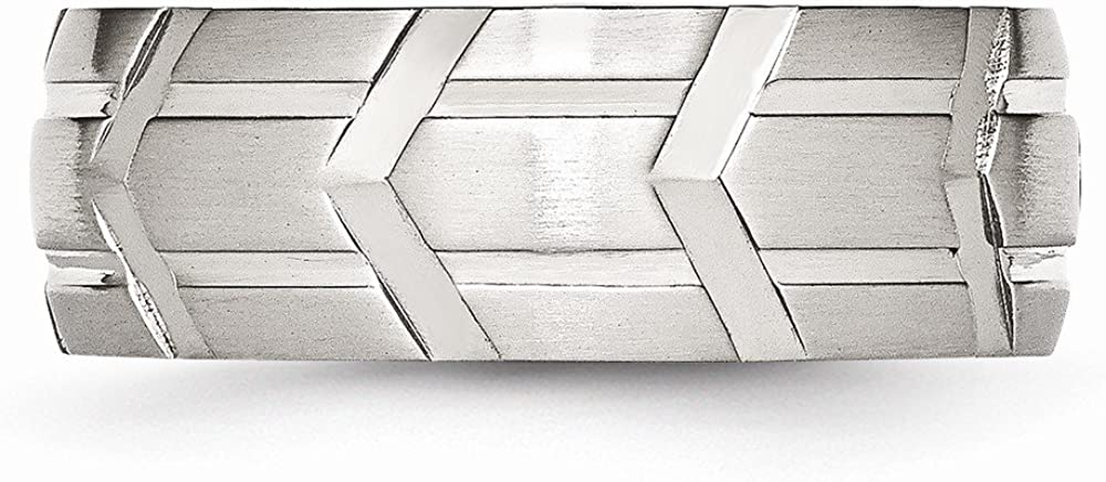 Stainless Steel Grooved 8mm Brushed /& Polished Band Size 12 Length Width 8