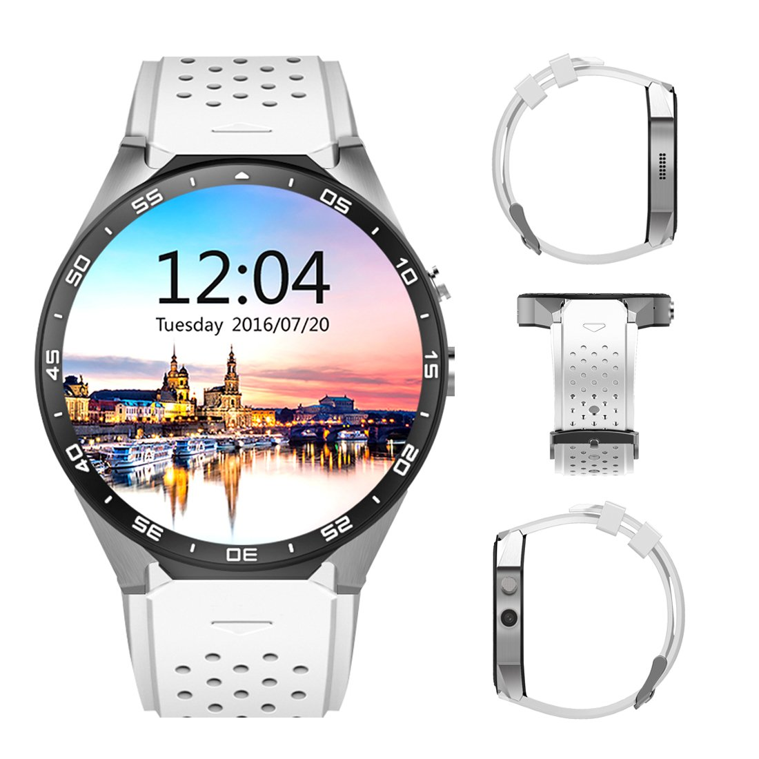 3G Smart Watch, Android 5.1 OS, Quad Core support 2.0MP Camera Bluetooth SIM Card WiFi GPS Heart Rate Monitor (White+Silver)