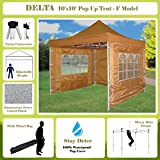 10'x10' Pop up 4 Wall Canopy Party Tent Gazebo Ez Burnt Orange - F Model Upgraded Frame By DELTA Canopies