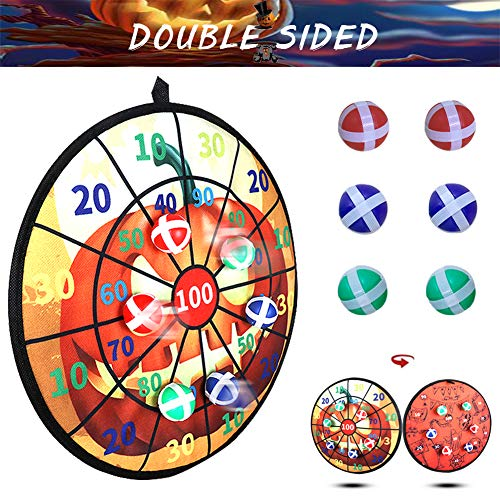 party club Halloween Dart Board Double-sided Fabric Dart Board Game for Kids with 6 Balls Safety Sticky Darts for Halloween Party Indoor Outdoor Family Class Activity