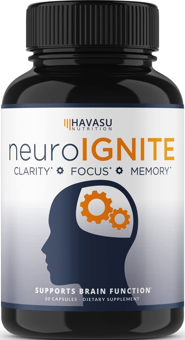 Havasu Nutrition Extra Strength Brain Supplement for Focus, Energy, Memory and Clarity, Mental Performance Nootropic with St Johns Wort, Supports Brain Function for Men and Women - 30 Capsules: Health & Personal Care