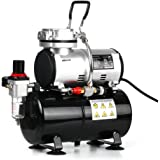 Docooler Professional 1/6 HP Piston Airbrush Compressor Oil-less Quiet High-pressure Pump Tattoo Manicure Spraying Air Compressor with Tank 220-240V