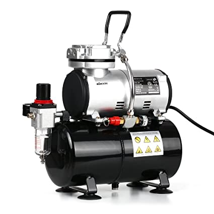 KKmoon Professional 1/6 HP Compresor de aerógrafo de pistón Sin aceite Silencioso Bomba de