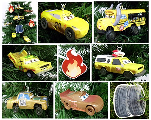 Bone Christmas Tree Ornament (Disney CARS 3 Holiday Christmas Tree Ornament Set Featuring Ms. Fritter, Taco, Chester Whipplefilter, T-Bone, Pizza Planet Truck and Francis Beltline, 9 Piece Set)