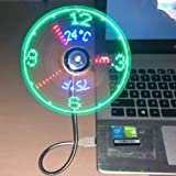 New USB Clock Fan with Real Time Clock and Temperature Display Function,Silver,1 Year Warranty (Temperature and Clock)