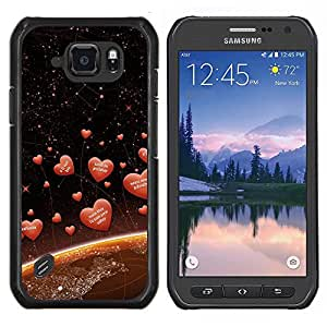 For Samsung Galaxy S6Active Active G890A Case , Amor Corazones espaciales- Diseño Patrón Teléfono Caso Cubierta Case Bumper Duro Protección Case Cover Funda