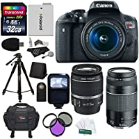 Canon EOS Rebel T5i 18 MP CMOS Digital SLR 18-55mm f/3.5-5.6 IS STM Lens + Canon EF 75-300mm f/4-5.6 III Telephoto Zoom Lens + Transcend 32 GB + Polaroid 72