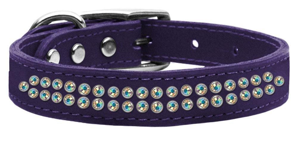 16\ Mirage Pet Products Two Row Aurora Borealis Jeweled Leather Purple Dog Collar, 16