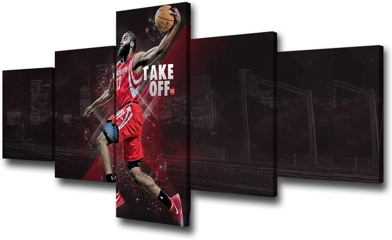 Houston Rockets James Harden Wall Decor Basketball NBA Sports Art Paintings 5 Piece Canvas Picture Artwork Living Room Prints Poster Bedroom Decoration Wooden Framed Ready to Hang - 50''Wx24''H