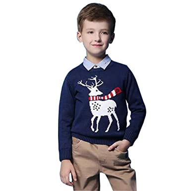 a34651f8a84d73 Yomeni Youth Kids Cute Crewneck Knitted Pullover Ugly Christmas Sweater  Royal Blue: Amazon.co.uk: Clothing