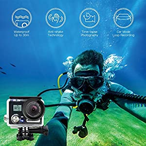 【Valentine's Day】Sport Camera, J-DEAL WiFi Action Waterproof Camera, 170 Degree Wide Angle Lens, Dual Screen, 2 Rechargeable Battery, Outdoor Accessories Kits Digital Video Camera + hand carry kit bag