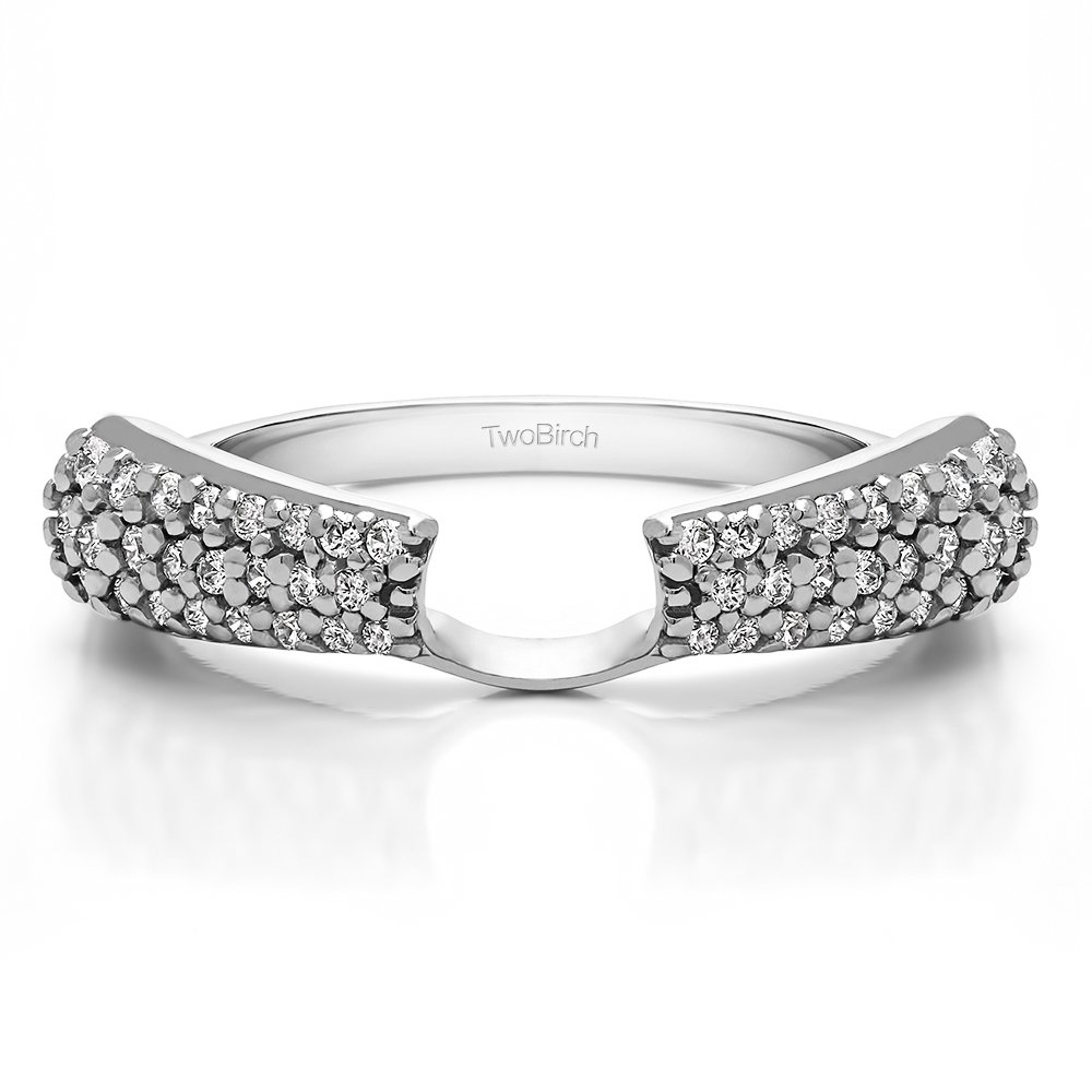 TwoBirch 0.29 ct. Cubic Zirconia Three Row Anniversary Solitaire Ring Wrap in Sterling Silver (1/3 ct. twt.)