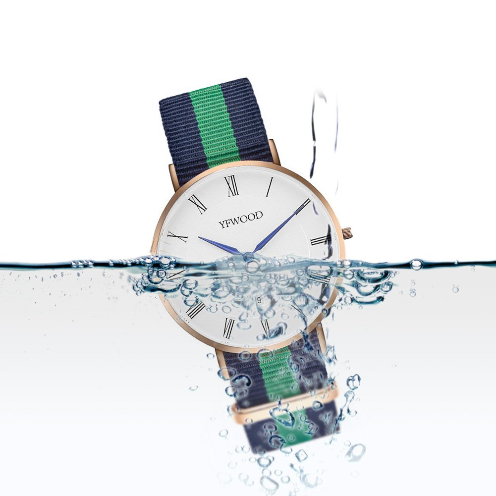 Quartz Watch Nylon Band Unisex Wrist Watch Classic Casual Waterproof Watch Round Dial Business Watch by THAITOO (Image #3)