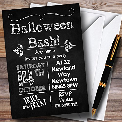 Chalk Style Vintage Personalized Halloween Party Invitations