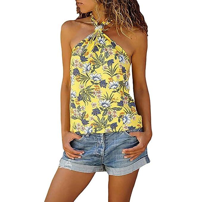 aef5bb783c URIBAKY ✤✤Camiseta Tops Mujer Camisa Sin Manga Casual Tirantes Flores Blusa  Elegante Verano  Amazon.es  Ropa y accesorios