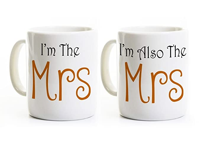 mrs and mrs coffee mugs lesbian wedding gift gay marriage couples gift