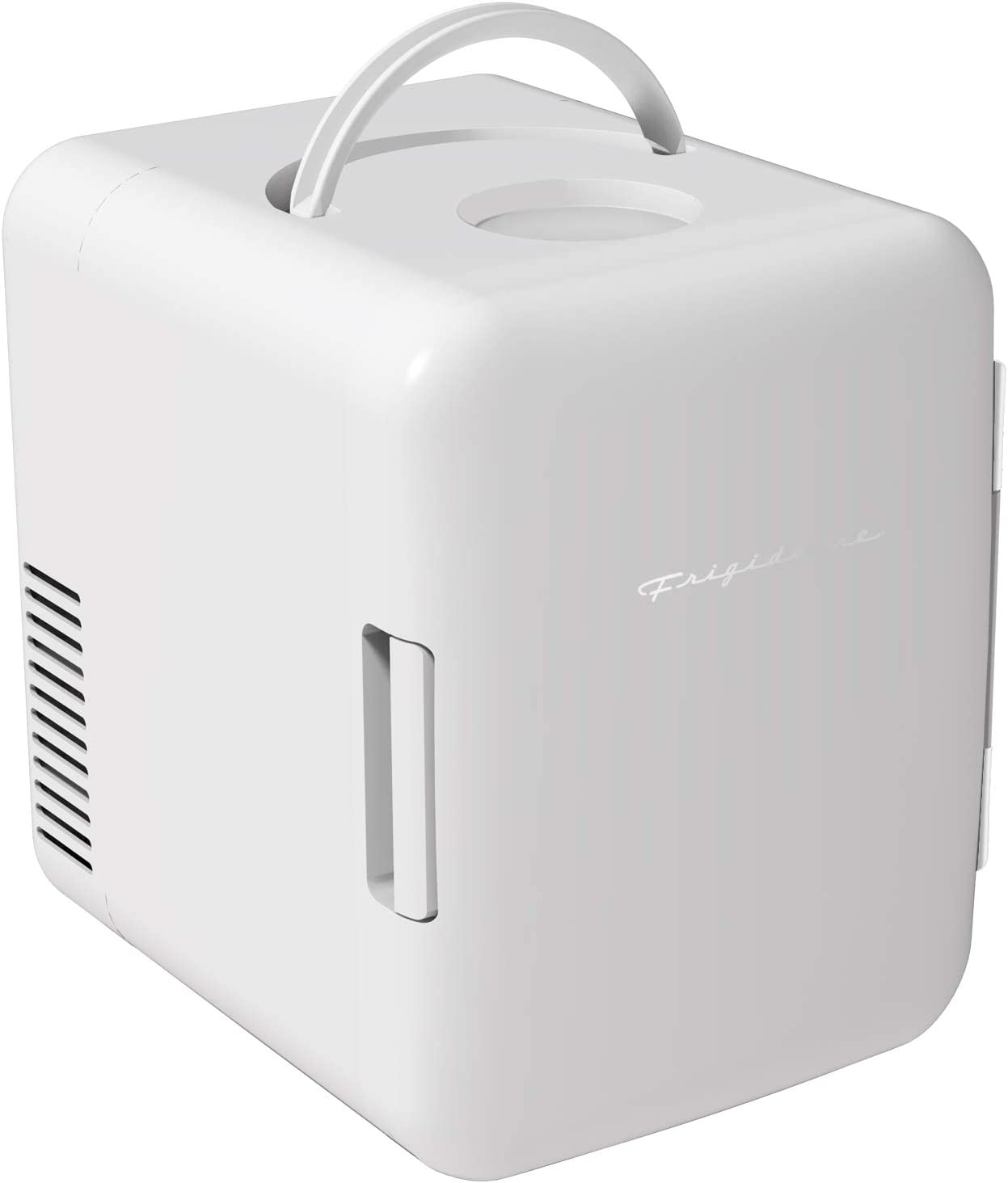 Frigidaire Mini Portable Compact Personal Fridge Cools & Heats, 4 Liter Capacity Chills Six 12 oz Cans, 100% Freon-Free & Eco Friendly, Includes Plugs for Home Outlet & 12V Car Charger - White
