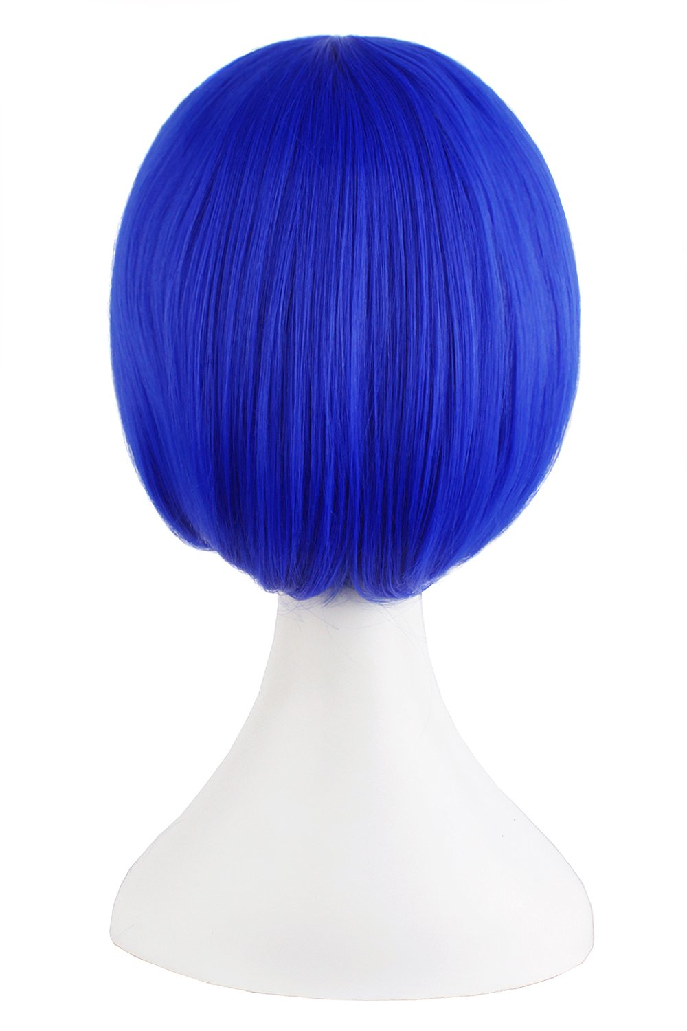 MapofBeauty Fashion Girl Natural Short Straight Wigs Diagonal Bangs Wigs-Navy Blue-Ladies by MapofBeauty (Image #2)