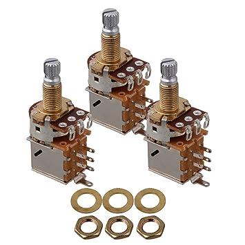 yibuy A250 K Guitarra potenciómetro de control Push Pull 18 mm para botón de control 3 unidades: Amazon.es: Instrumentos musicales