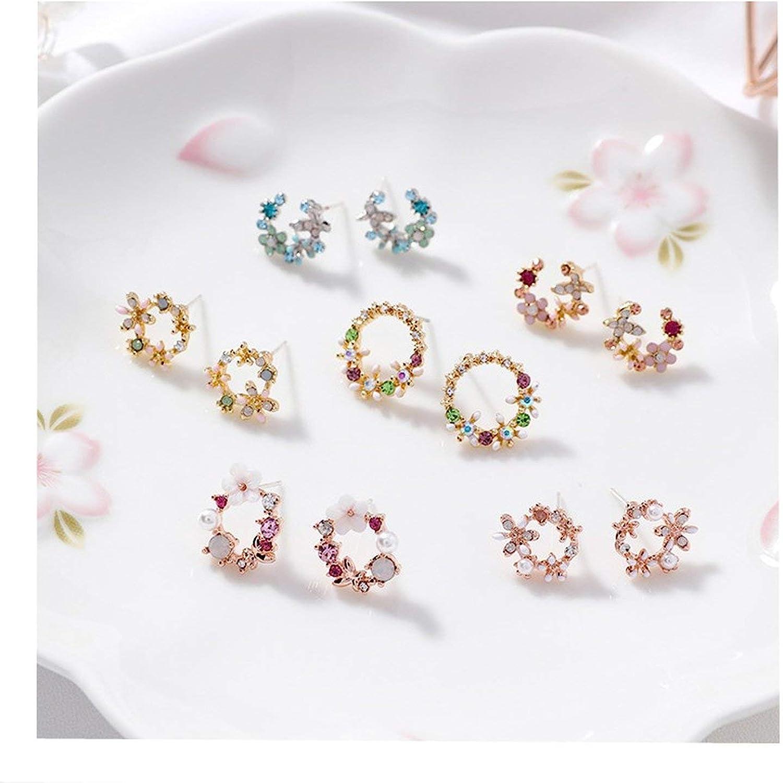 Womens Jewelry Colorful Rhinestone Wreath Stud Earrings Sweet Flower Small Circle Brincos Gift RL31