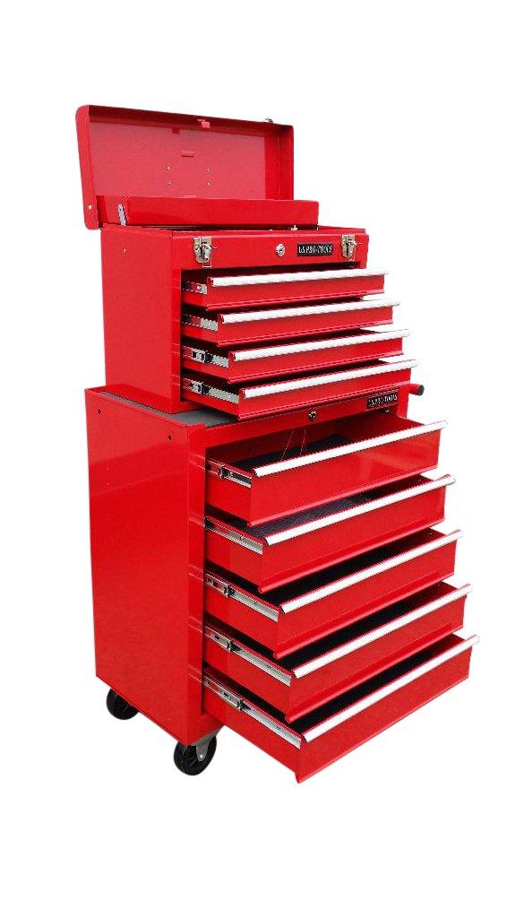 133 US PRO TOOLS Caja de herramientas roja, armario con ruedas para herramientas (9 cajones con raíles de rodamientos): Amazon.es: Bricolaje y herramientas