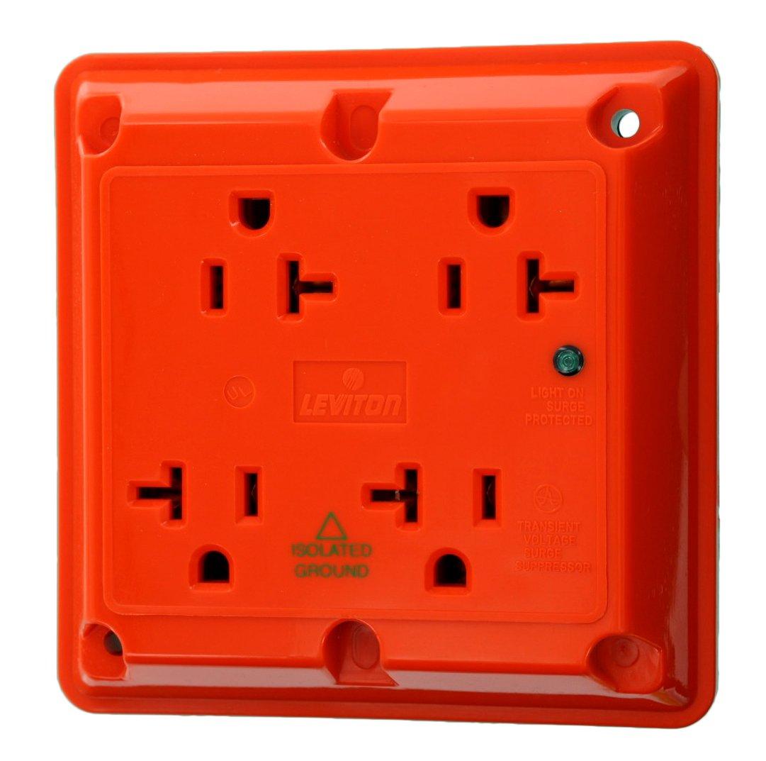 Leviton 5490-IG 20-Amp 125-Volt 4-In-1 Receptacle, Orange