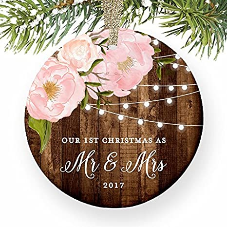 Amazon Com Christmas Tree Ornaments Mr Mrs Gifts Our 1st