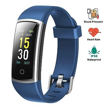 Lintelek Pulsera Actividad Impermeable Smartband con Pulsómetro y Tensiómetro, Reloj Medidor Tensión Arterial, Pulsera Deportiva con GPS Compatible a ...
