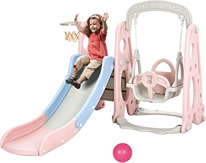 3 in 1 Kids Play Climber Slide Playset Indoor Outdoor Playground Toy with Basketball Hoops Activity Center in Backyard Toddler Climber and Swing Set from US, Pink-4