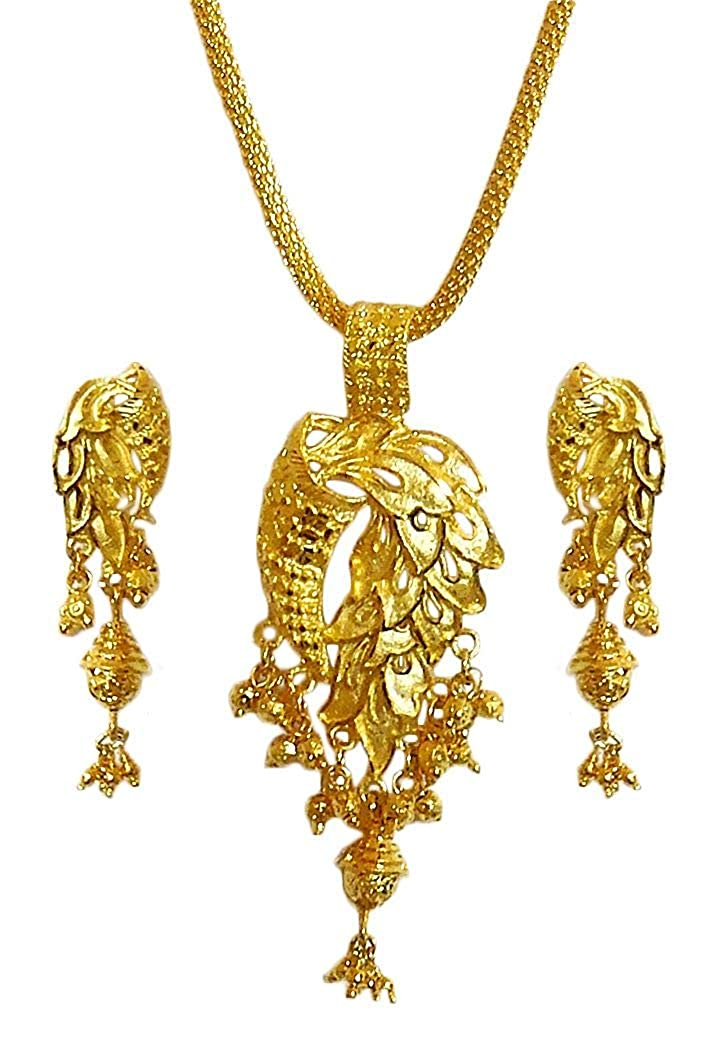 18.75 inches Chain Length DollsofIndia Gold Plated Pendant with Chain and Earrings GU26