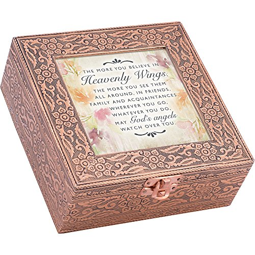 Cottage Garden Heavenly Wings Angels Watch Stamped Copper 6 x 6 Metal Finish Music Box Plays Amazing Grace ()