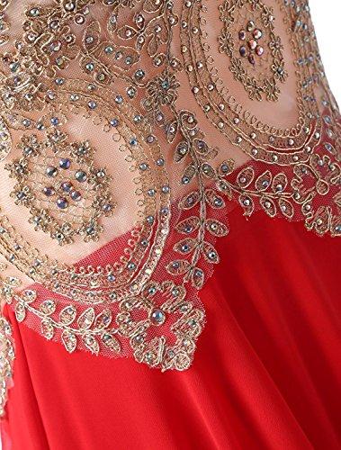 Chiffon Gold Ballkleider Abend Perlen Damen Lange Kleider Izanoy Smaragdgrün Formalen Applikationen I5wBq